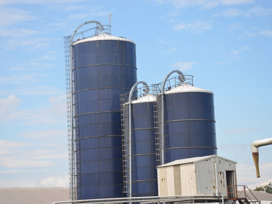 A view of the corn silos at Hopkins Farm in Lewes.
