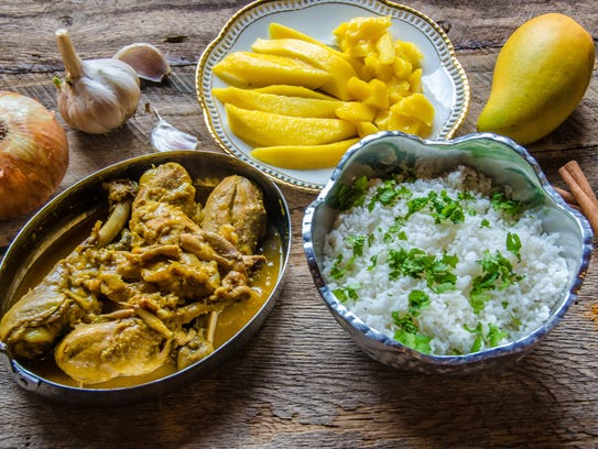 Mango chicken curry made with Karen's Spice Kitchen's