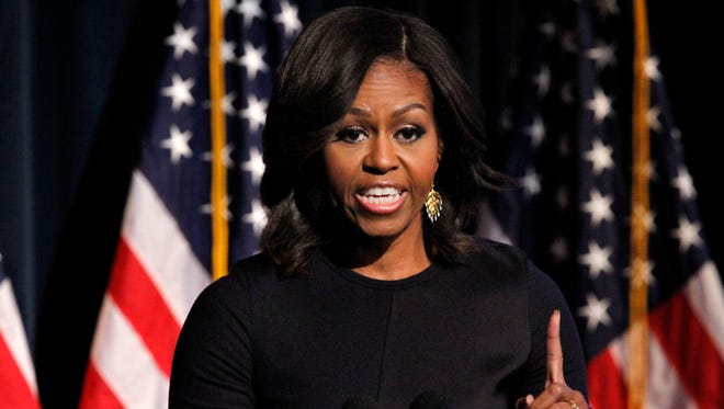 First lady Michelle Obama speaks during the launch event for Got Your 6 in Washington.