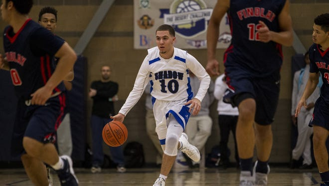 Shadow Mountain's Michael Bibby drives down the court against Las Vegas Findlay Prep in the second quarter during the Desert Challenge on Friday, Dec. 11, 2015 at Rancho Solano Preparatory High School in Scottsdale, Ariz.