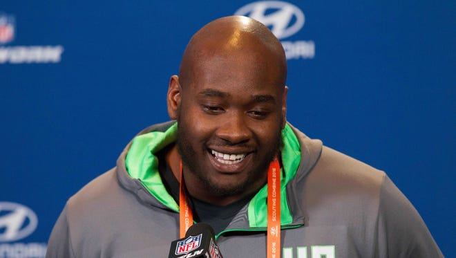 Mississippi offensive lineman Laremy Tunsil speaks to the media during the 2016 NFL Scouting Combine at Lucas Oil Stadium.