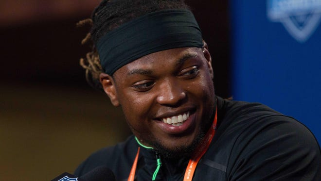Alabama running back Derrick Henry at a press conference at the NFL combine Wednesday.