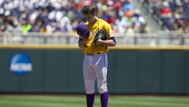 LSU  pitcher Alex Lange (35) fell to 2-2 on the season with a loss at Auburn on Saturday. LSU Tigers pitcher Alex Lange (35) fell to 2-2 on the season with a loss at Auburn on Saturday.