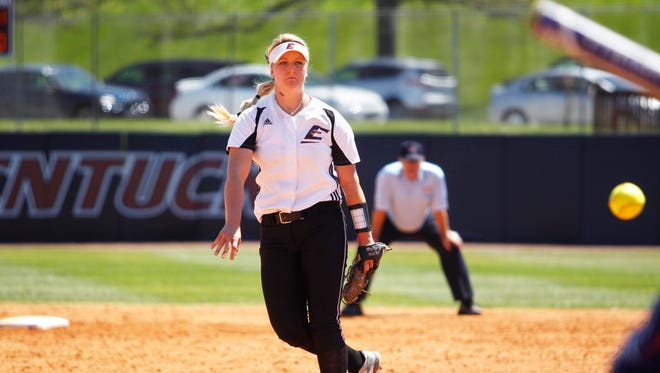 Philo grad Hayley Flynn fires a pitch toward home plate for Eastern Kentucky during her senior season. Flynn last week signed with the Pennsylvania Rebellion, a professional fastpitch team.