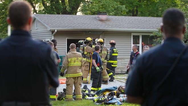 Wabash Township firefighters extinguished a fire in the 3200 block of Soldiers Home Road Wednesday night. No one was injured, but the two people who lived there were displaced.