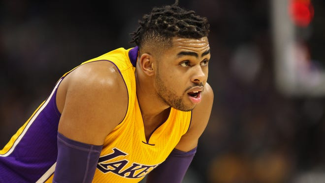 Los Angeles Lakers guard D'Angelo Russell (1) looks on against the Sacramento Kings during the second half at Golden 1 Center.