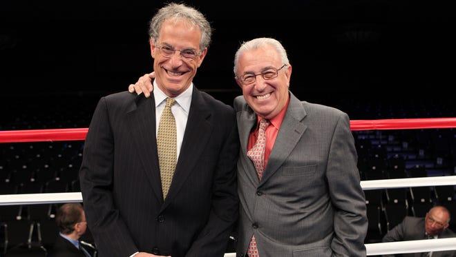 Steve Farhood, left, and Barry Tompkins pose before a ShoBox: The New Generation show