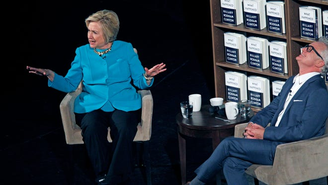 "At Milwaukee's Riverside Theater on Thursday, Hillary Clinton talks with actor Bradley Whitford about her book ""What Happened"" a year and a day after her loss to President Donald Trump."