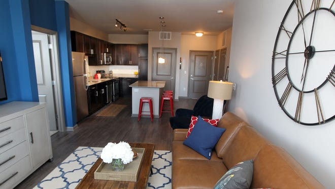 The living area of an apartment at One Rookwood, a 127-unit apartment development that is being completed in Norwood.