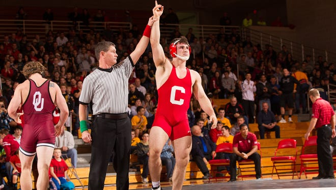Cornell's Gabe Dean wins a wrestling match against Oklahoma.