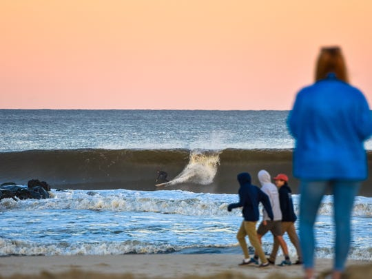 Pro surfing icon Kelly Slater surfs a southern Monmouth County wave on Oct. 17, 2017.