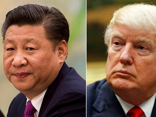 FILE - This combination of file photos show U.S. President Donald Trump, right, in a meeting at the White House in Washington, on March 31, 2017,  and China's President Xi Jinping  in a meeting at the Great Hall of the People in Beijing, on Dec. 1, 2016. President Xi probably won't give President Trump a round of golf during their first face-to-face meeting on April 6-7, but may find it worthwhile to ensure his American counterpart does not feel like he's leaving empty-handed. Some analysts believe Xi might be willing to hand Trump a symbolic victory on trade to put a positive spin on the meeting.