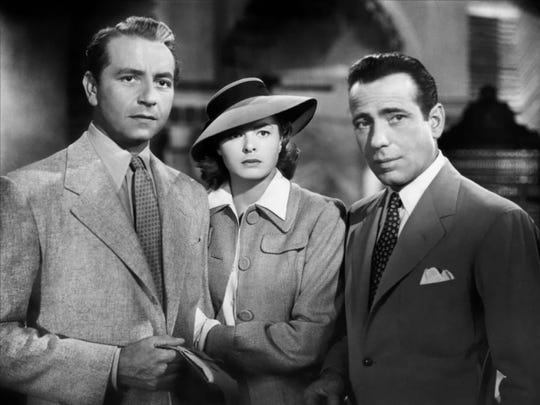 "A love triangle between Paul Henreid, Ingrid Bergman and Humphrey Bogart may not amount to a hill of beans compared to the Nazi threat in ""Casablanca."""