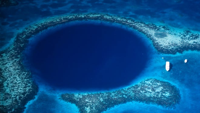 Aerial view of the Blue Hole in Belize.