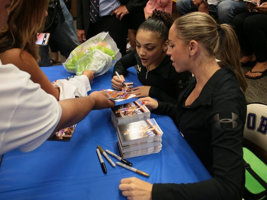 Township-wide sendoff at Old Bridge High School on July 14, 2016 for Laurie Hernandez, 16, who will be competing in Rio as part of the U.S. Women's Gymnastics Team.