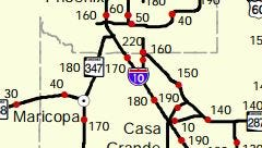 Red dots indicate the mileposts on this map.