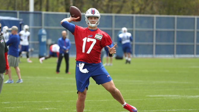 Bills top draft pick quarterback Josh Allen talking part in rookie camp.