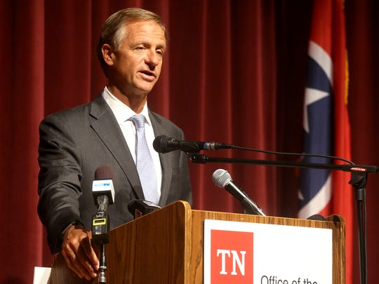 Tennessee Governor Bill Haslam, speaks before presenting the City of Murfreesboro a check for over a million dollars to build sidewalks along Mercury Blvd., during a presentation at Patterson Park Community Center on Friday, July 20, 2017.