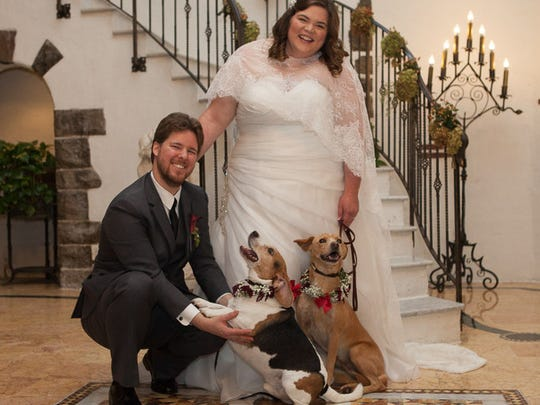 The Matleskys used Morris Animal Inn's wedding package to include their dogs, Madden and Emmett, in their wedding.