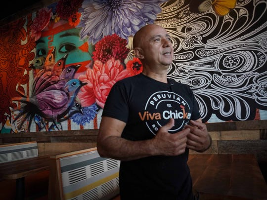 Bruno Macchiavello, owner of Viva Chicken, a Peruvian Rotisserie Joint, opened his tenth store in Delaware that will be serving rotisserie  Peruvian chicken with special spices along other native dishes from the country he was born in to customers visiting his restaurant in Christiana.