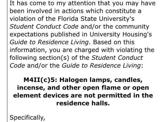The email sent to students on March 14.