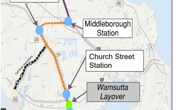 A map of South Coast Rail's planned New Bedford Main Line, which includes a new station in Middleboro. The MBTA will hold a virtual meeting for those interested in the Middleboro portion of the project in Jan. 27.