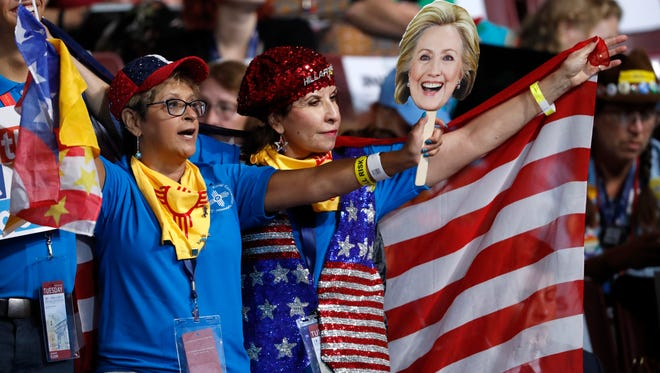 New Mexico delegates attend the second day of the Democratic National Convention in Philadelphia , Tuesday, July 26, 2016.