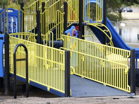 A fully-accessible playground under construction at