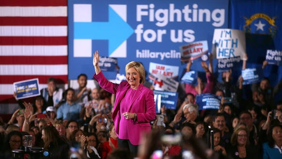 """Hillary Clinton greets supporters during a """"Get Out"""