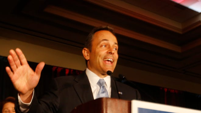 Governor Elect Matt Bevin was all smiles as he gave his victory speech at the Galt House East. Nov. 3, 2015.