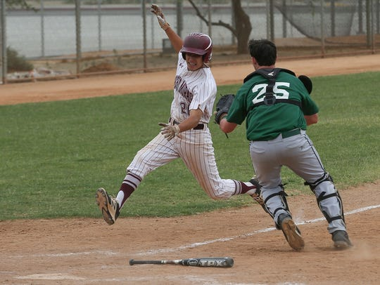 Ryan Rodriguez of Rancho Mirage is tagged out by Twentynine