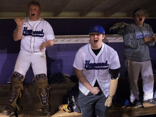 Landon Wilson cheers as Haywood regains a late lead during a 12-11 victory against Crockett County on April 5.