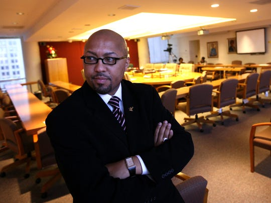 Charles Pugh, Detroit City Council President elect, sits in the Council chambers after a meeting at the Coleman A. Young Municipal Center in Detroit Tuesday, November 4, 2009.