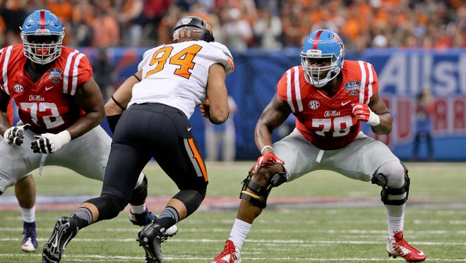 Former Ole Miss left tackle Laremy Tunsil (78) will join five of his former teammates at the NFL Combine, which starts Feb. 23 in Indianapolis.