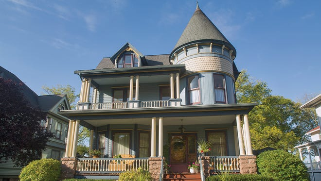 "The ""painted lady"" Queen Anne Victorian home on Main Street in Canandaigua."