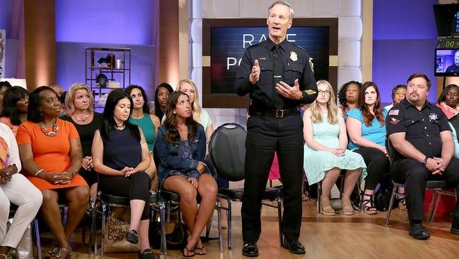 Milwaukee Police Chief Edward Flynn addresses the audience of Steve Harvey's daytime talkshow.