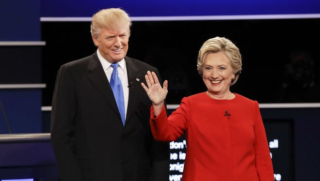 Republican presidential nominee Donald Trump and Democratic presidential nominee Hillary Clinton are introduced during the first presidential debate at Hofstra University in Hempstead, N.Y., on Sept. 26.