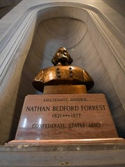 Protesters demand the removal of a bust honoring Confederate general Nathan Bedford Forrest outside Gov. Bill Haslam's office at the state Capitol on Aug. 14, 2017, in Nashville.