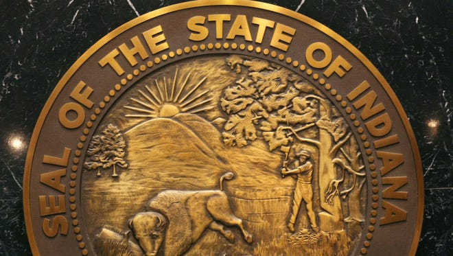 The seal of the state of Indiana.