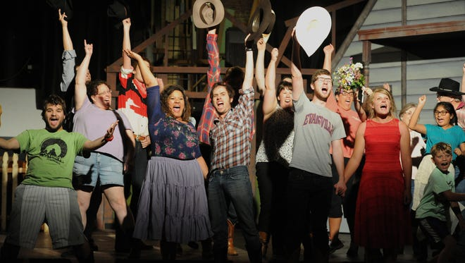 """The cast of """"Oklahoma!"""" rehearses as the Civic Theatre was beginning its 90th season and 40th inside the North Fulton Street Theatre in Evansville.  The Theatre is opening this season with """"Oklahoma!"""""""