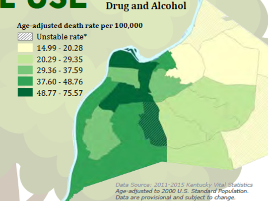 Drug- and alcohol-related death rate in Louisville, per  the 2017 Louisville health equity report