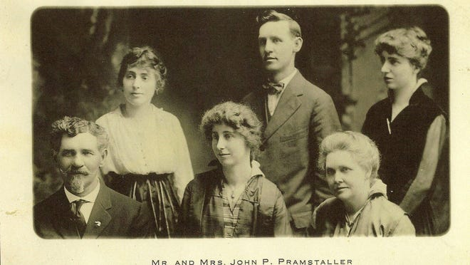 John P. and Elizabeth Pramstaller's 35th wedding anniversary in 1916. Top row, from left, Marie, George, Irene. Bottom row, from left, John, Selina, Elizabeth. 97 years ago, Selina Pramstaller and Tille Espeer of Detroit wrote a note as they enjoyed a day at Tashmoo, an amusement park on Harsens Island. They stuffed the message in a bottle, corked it and threw it in the St. Clair River where it sank to the bottom. In June of 2012, diver Dave Leander found the bottle. For message in a bottle story.