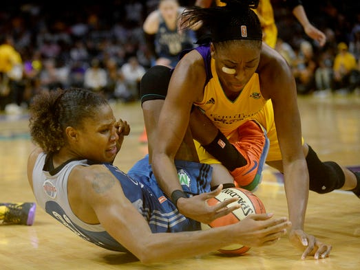 Los Angeles Sparks forward Nneka Ogwumike (30) plays