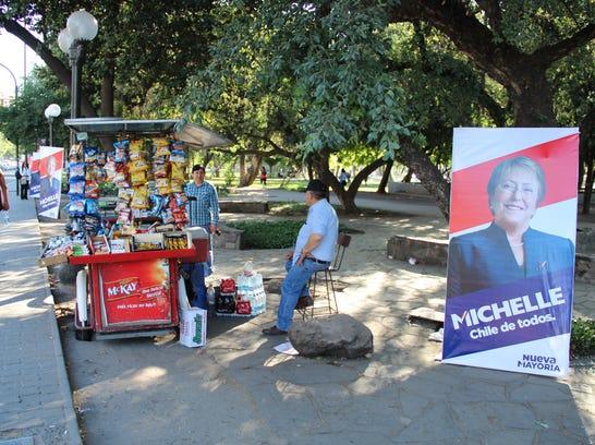 Michelle Bachelet campaign posters around Santiago09