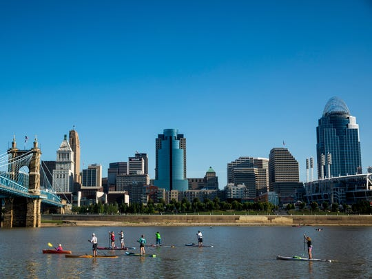 More than 2,000 people participate in the Ohio River Paddlefest event Saturday, August 5, 2017. It was a record-breaking year for number of participants.