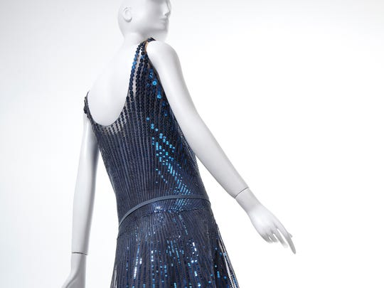 """Gabrielle """"Coco"""" Chanel, French, 1883-1971 Evening Dress and Slip, 1928 metal sequins on silk tulle. Gift of Mrs. Wesson Seyburn, 1968.c.649.A-B"""