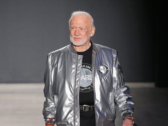 Buzz Aldrin walks the runway at the Nick Graham NYFW