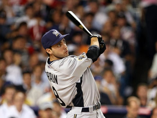 Ryan Braun of the Milwaukee Brewers hits during the