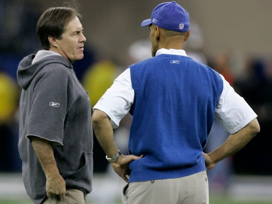 Bill Belichick and Tony Dungy shared a brief chat before their teams took the field for the 2007 AFC Championship.