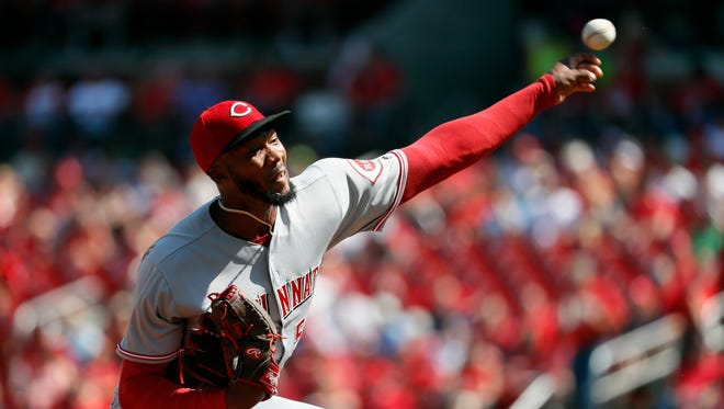 Cincinnati Reds starting pitcher Amir Garrett throws during the fourth inning of a baseball game against the St. Louis Cardinals Thursday, Sept. 14 in St. Louis.